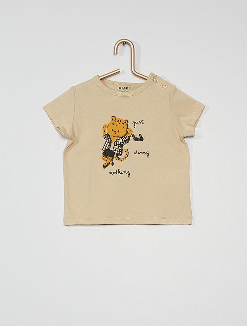 Camiseta estampada de manga corta                                                                                                                                                                             BEIGE
