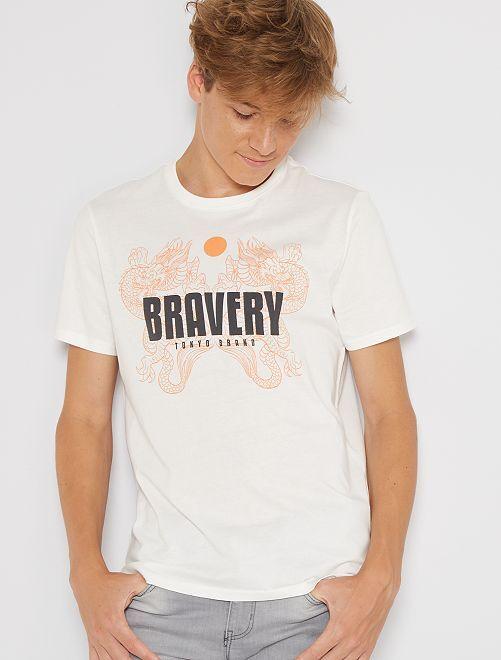 Camiseta estampada de manga corta                                                                                                                                                                                                                             BLANCO