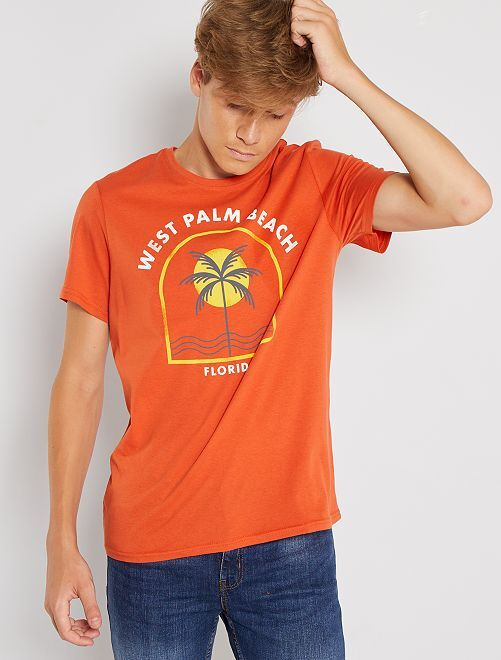 Camiseta estampada de manga corta                                                                                                                                                                                                                             NARANJA