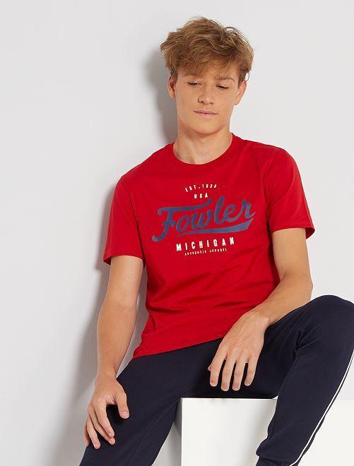 Camiseta estampada de manga corta                                                                                                                                                                                                                                                                             ROJO