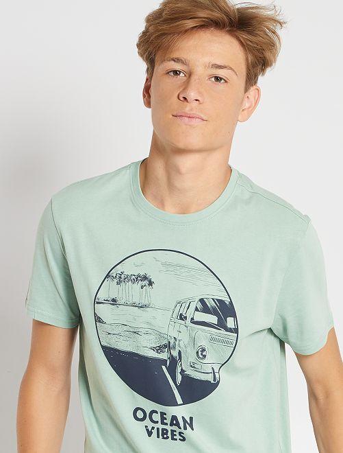 Camiseta estampada de manga corta                                                                                                                                                                                                                                                                             VERDE
