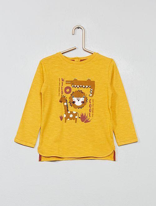 Camiseta estampada de manga larga                     AMARILLO Bebé niño