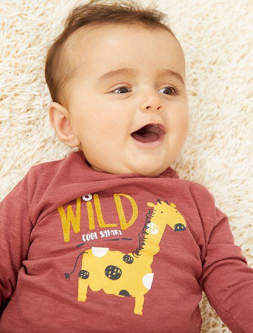 Camiseta estampada de manga larga                                                     ROJO Bebé niño
