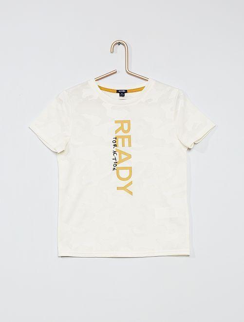 Camiseta estampada de punto de fantasía                     BLANCO