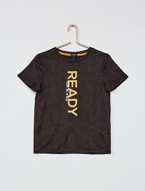 Camiseta estampada de punto de fantasía                     NEGRO