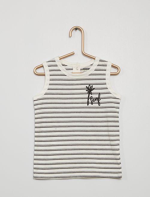 Camiseta estampada de tirantes                                                                 a rayas negro