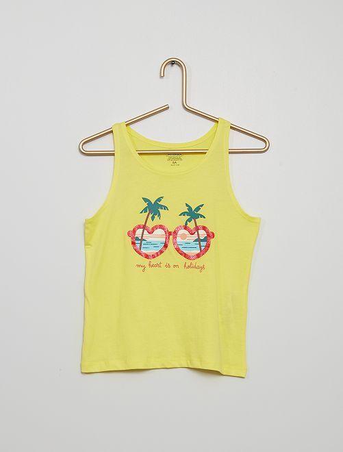 Camiseta estampada de tirantes                                                                                         AMARILLO