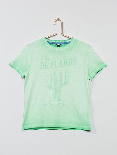 Camiseta estampada 'desierto'                             VERDE