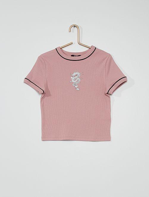 Camiseta estampada 'Dragón'                                         violeta oscuro
