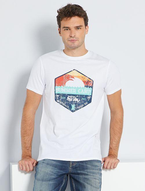 Camiseta estampada eco-concepción +1,90m                                         BLANCO