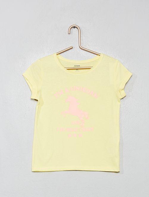 Camiseta estampada 'eco-concepción'                                                                                                                                                                                                                                         amarillo flúor