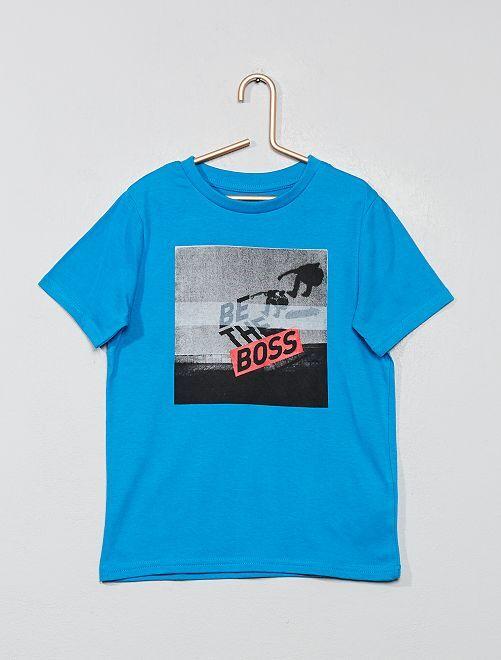 Camiseta estampada 'Eco-concepción'                                                                                                     AZUL Chico