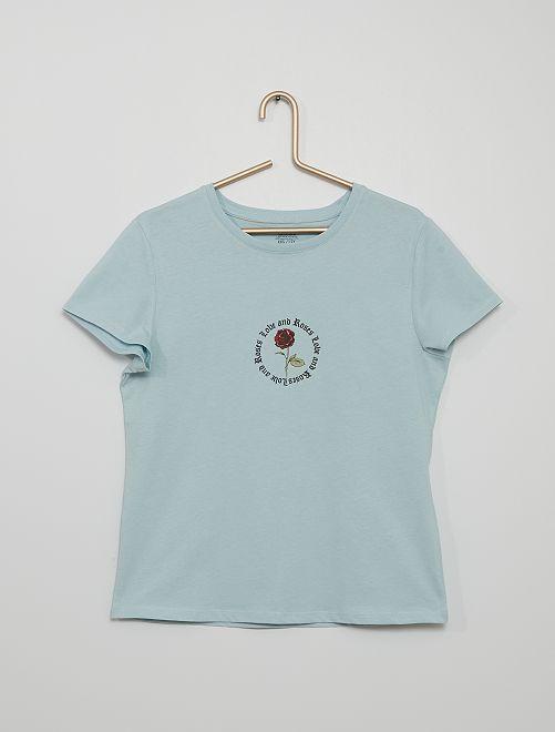 Camiseta estampada eco-concepción                                                                                                                                                                                                                                                     azul/rosa