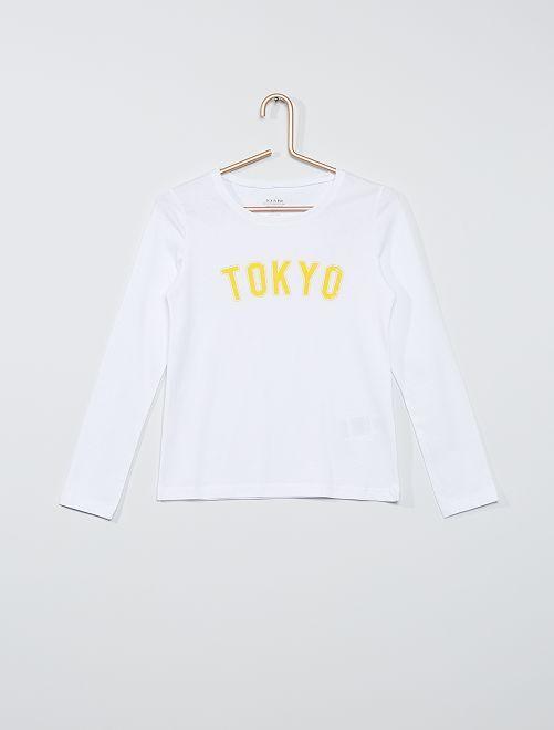 Camiseta estampada eco-concepción                                                                             BLANCO