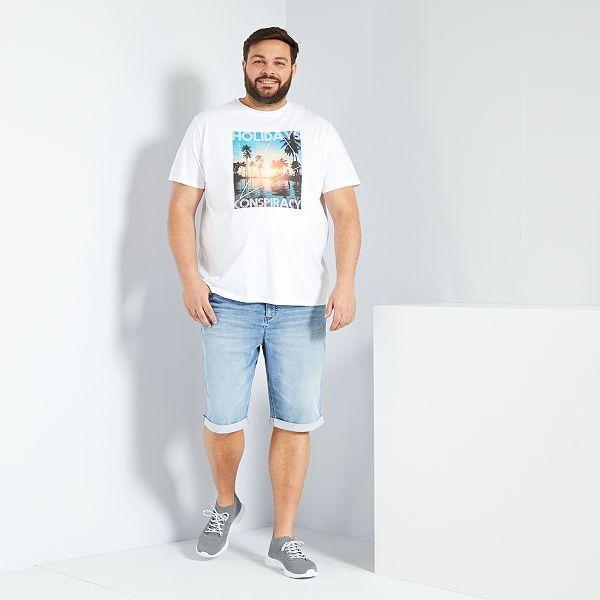 Camiseta Estampada Eco Concepcion Tallas Grandes Hombre Blanco Kiabi 10 00