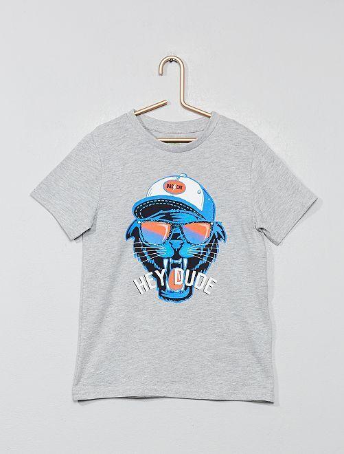 Camiseta estampada 'Eco-concepción'                                                                                                     GRIS Chico
