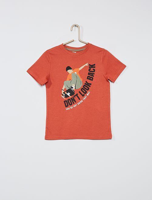 Camiseta estampada eco-concepción                                                                                                                             MARRON