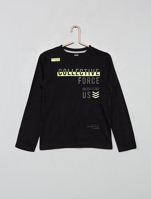 Camiseta estampada 'eco-concepción'                                                                                                                 NEGRO