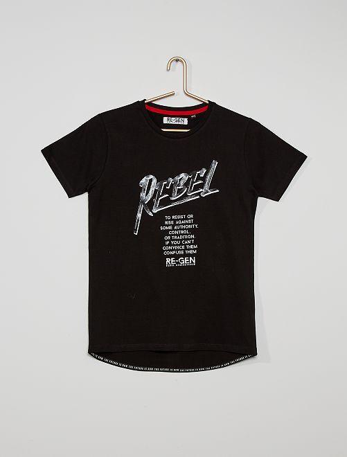 Camiseta estampada eco-concepción                             negro