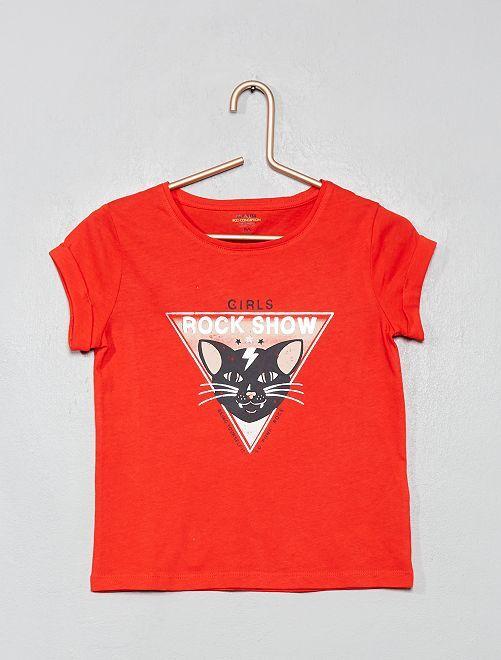 Camiseta estampada 'eco-concepción'                                                                                                                                                                                                                 ROJO