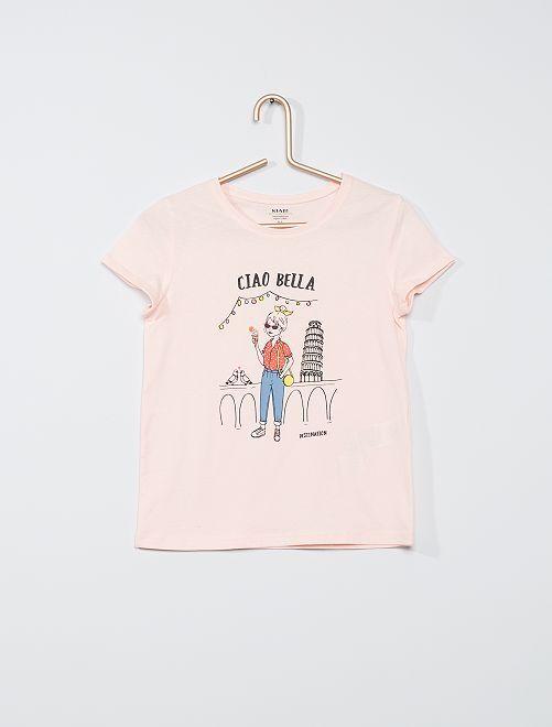 Camiseta estampada de 'flores' 'eco-concepción'                                             ROSA