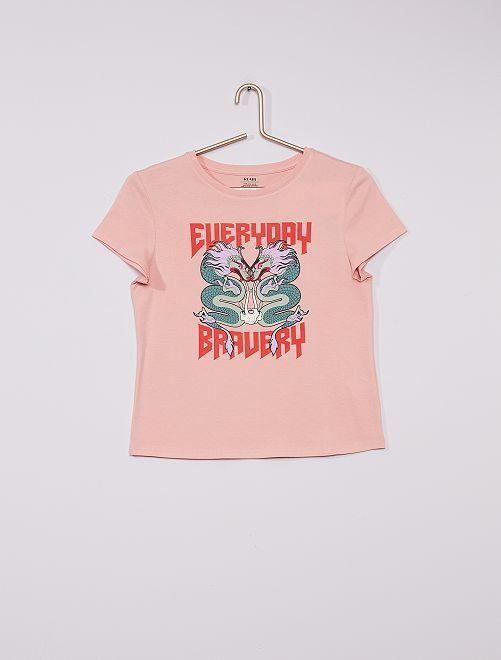 Camiseta estampada eco-concepción                                                                 ROSA