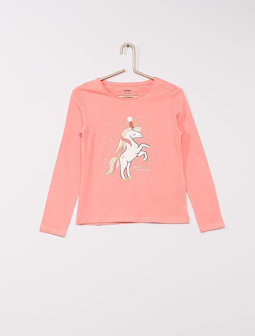 Camiseta estampada 'eco-concepción'                                                                                                                                         rosa unicornio