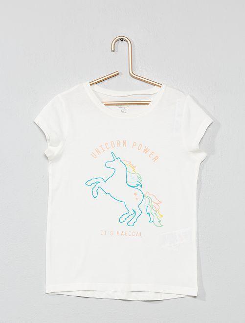 Camiseta estampada 'ecodiseño'                                                     BLANCO Chica