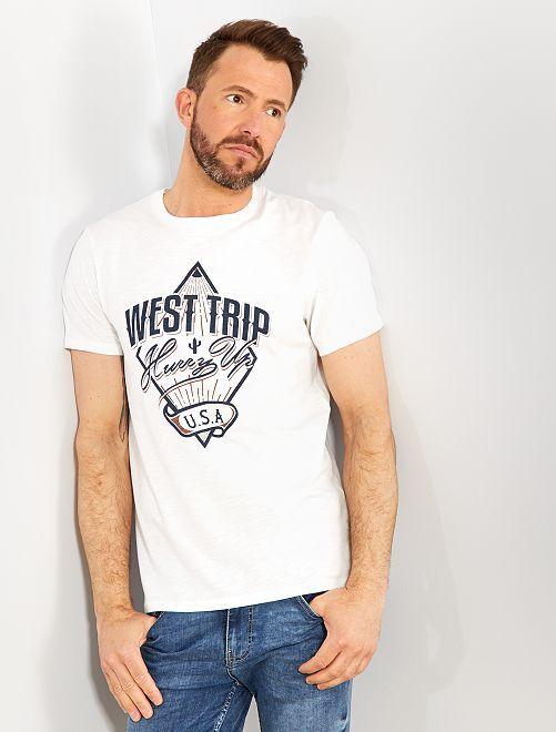 d48d5c99c42 Camiseta estampada Ecodiseño Hombre - BLANCO - Kiabi - 6