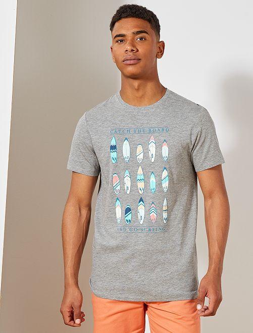 Camiseta estampada Ecodiseño                                                                 GRIS Hombre