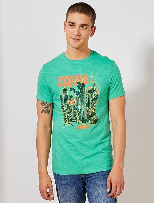 Camiseta estampada Ecodiseño                                                                                                                                         VERDE Hombre