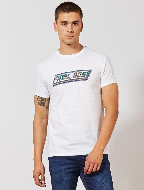 Camiseta estampada 'Final Boss'                                                                             BLANCO