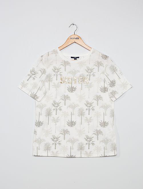 Camiseta estampada 'flores'                                                                                                     BLANCO