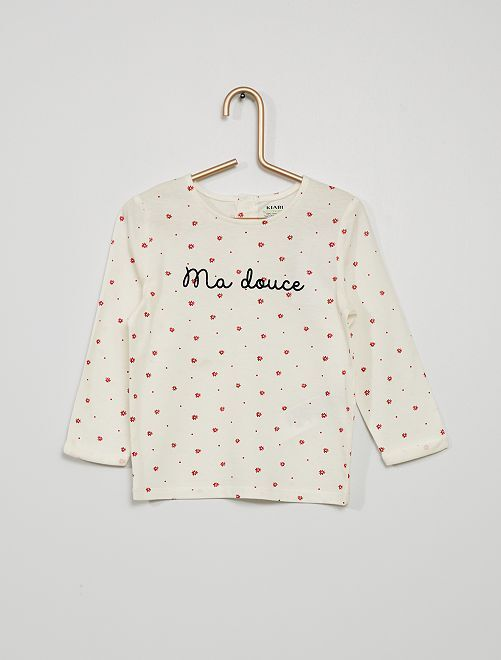 Camiseta estampada 'flores pequeñas'                                                     ROJO