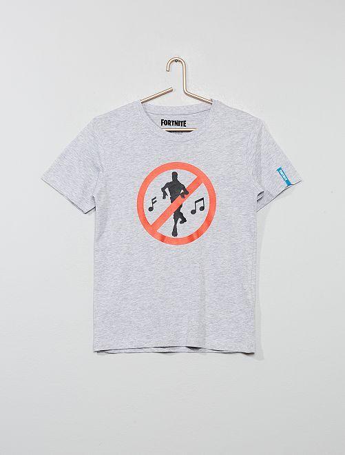 Camiseta estampada 'Fortnite'                             gris chiné