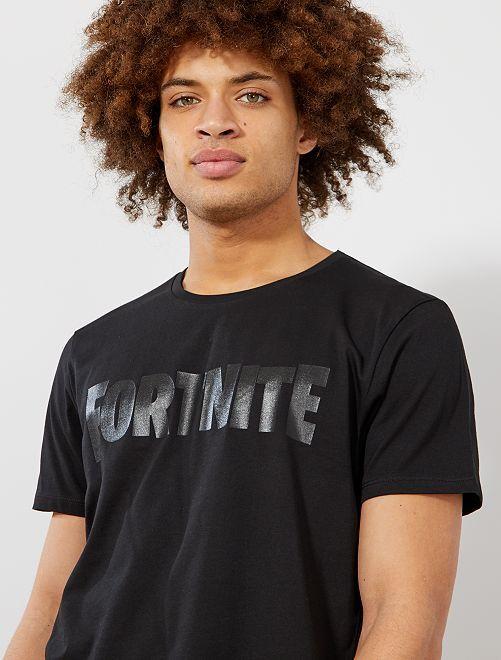 Camiseta estampada 'Fortnite'                             negro Hombre