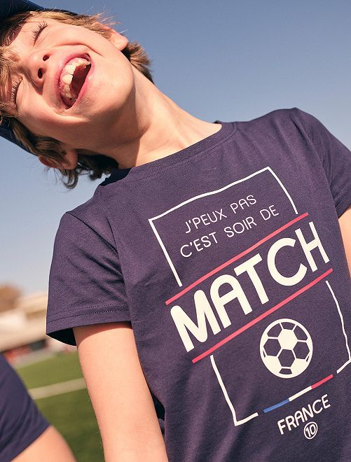 Camiseta estampada 'fútbol' eco-concepción                                         AZUL