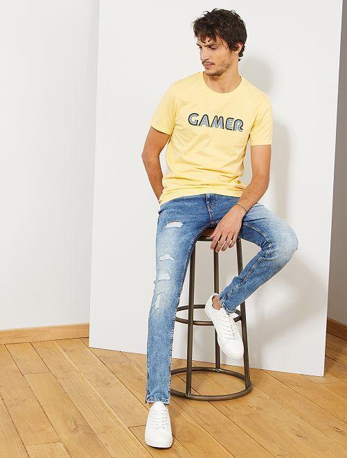 Camiseta estampada 'Gamer'                                                                             AMARILLO