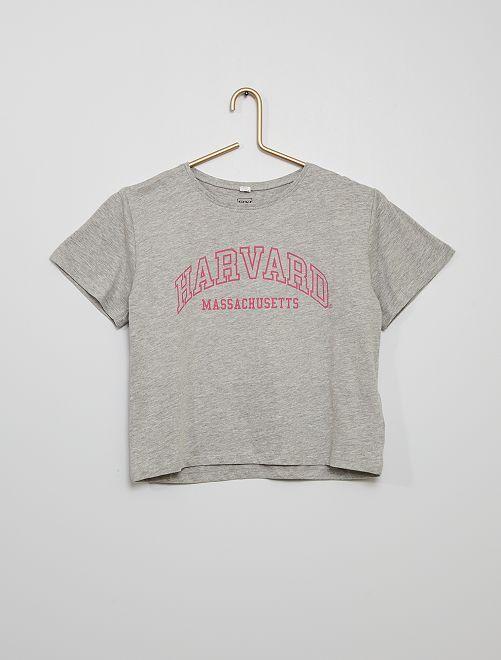 Camiseta estampada 'Harvard' eco-concepción                             GRIS