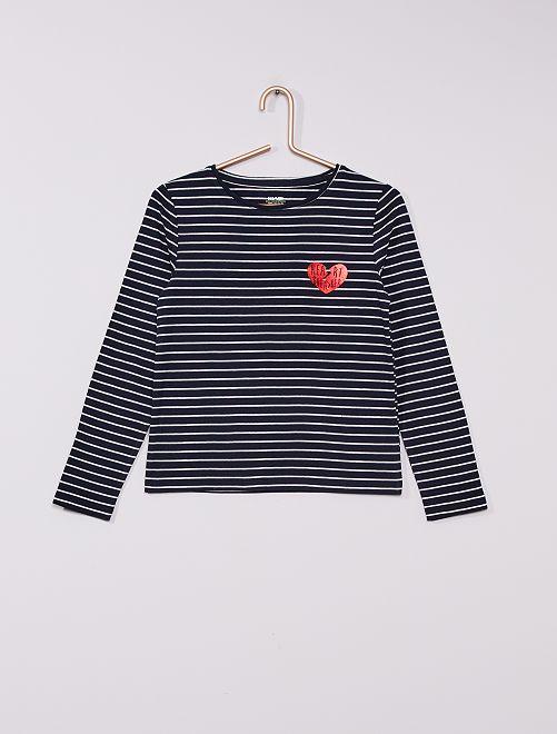Camiseta estampada 'Love me, love me not...choose'                     AZUL