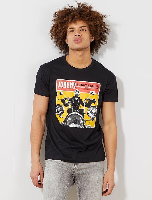 Camiseta estampada 'Johnny Hallyday'                             negro Hombre