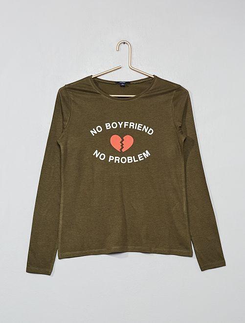 Camiseta estampada                                         KAKI Joven niña
