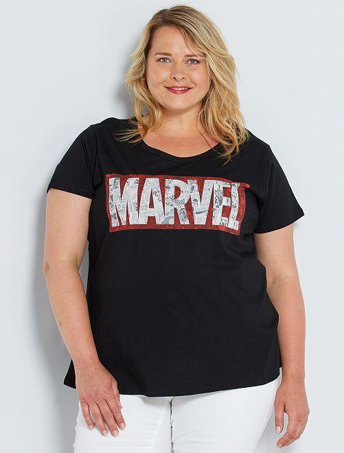 Camiseta estampada 'Marvel'                             negro