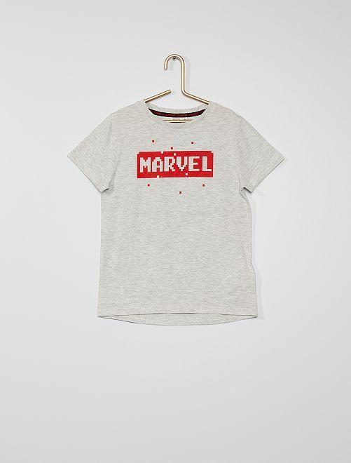 Camiseta estampada 'Marvel' 'Pixel Art'                                                     GRIS