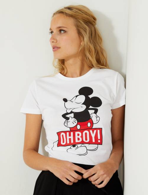 Camiseta estampada 'Mickey'                             blanco