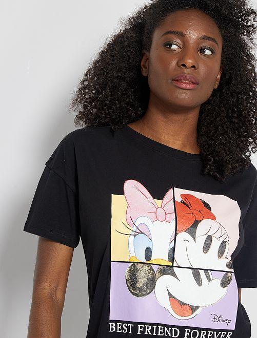 Camiseta estampada 'Mickey', 'Minnie' y 'Daisy'                                                                                                                                         NEGRO