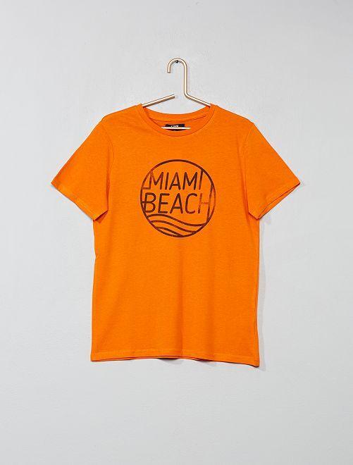 Camiseta estampada                             NARANJA Joven niño
