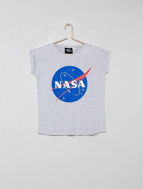 Camiseta estampada 'Nasa'                             GRIS Chica