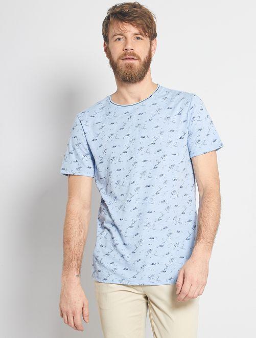 Camiseta estampada naturaleza                                         AZUL