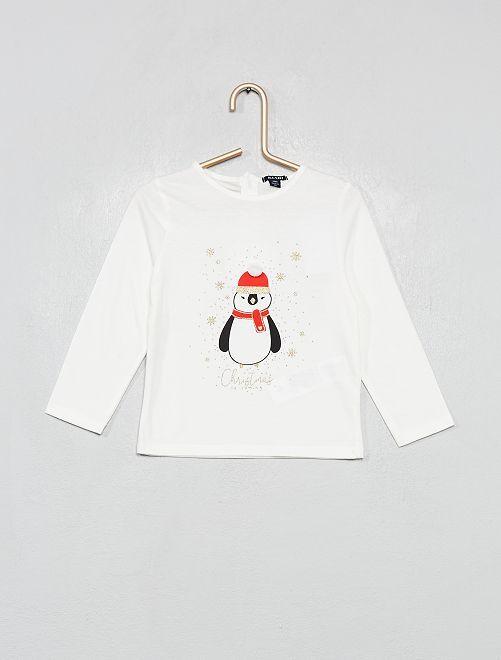 Camiseta estampada 'Navidad'                             BLANCO